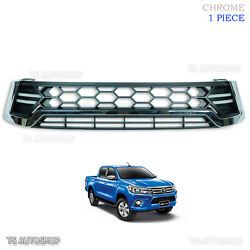 Chrome Drl Daylight Front Grille Grill Fit Toyota Hilux Revo Sr5 2015 2016 17