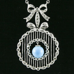 Turquoise And Diamond 18k White Gold Necklace W/ribbon Bow Design And Bar Chain