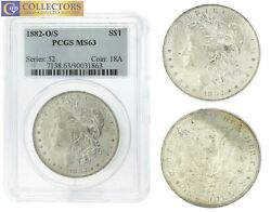 1882-o/s Pcgs Ms 63 Us 1 Morgan Silver Dollar Coin