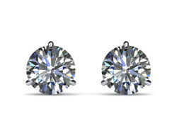 Certified 2.00 Ct H Si2 Round Diamond Earrings Martini Pushback 14 K White Gold