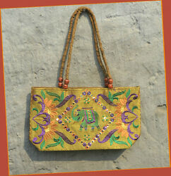 embroidered silk bag tote shoulder bag evening purse mirror work from India