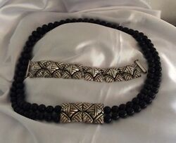 Vintage Sw Native American Necklace With Black Coral Beads With Silver Bracelet.
