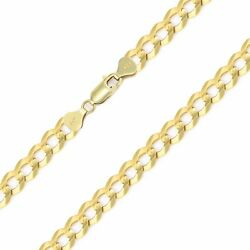 14k Solid Yellow Gold Cuban Necklace Chain 7.0mm 20-30 - Curb Link Men Women