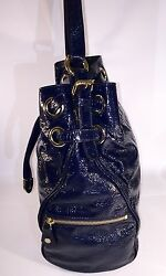 Jimmy Choo Ring Bucket Navy Blue - Patent Leather Handbag Authentic Msrp 1795