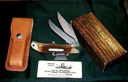 Schrade 25ot Knife And Sheath 1980and039s Old Timer 5-1/4 Closed W/original Packaging