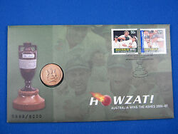 2007 Howzat Australia Wins Ashes Pnc Stamp Coin And Cover Nice Item. Free Post