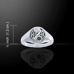 Trinity Triquetra Yin Yang Ring .925 Sterling Silver By Peter Stone Jewelry Fine