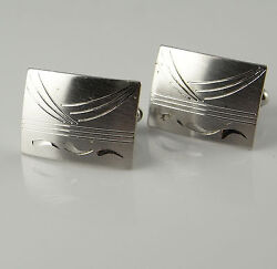 Simple Mens Sterling Silver Cuff Links Cufflinks Engraved Finish Modernist 925