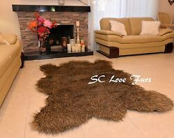 Russian Bearskin Grizzly Wolf Plush Brown Tip Medium Faux Fur Home Rugs Indoors