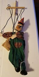 Vintage Wooden Carved Pinocchio Marionette - 15 1/2 Tall