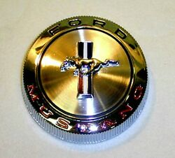 New 1966 Ford Mustang Gas Cap Chrome Twist On With Cable