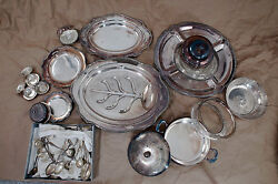 Vintage Oval Sheffield Silver Plate Footed Meat Serving Platters And