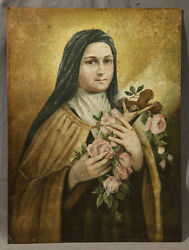 19th Century Saint Therese The Little Flower Oil Painting On Copper Panel
