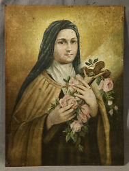 19th Century Saint Therese, The Little Flower Oil Painting On Copper Panel