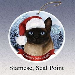HolidayGift Siamese Seal Point Santa Hat Cat Porcelain Christmas Tree Ornament