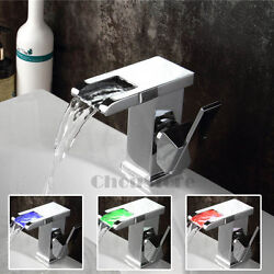 Chrome Brass Waterfall Sink Faucet Bathroom Basin Mixer Color Changing Led Tap