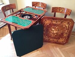 Italian Wood Inlay Convertible Multi Game Table & 4 Chairs
