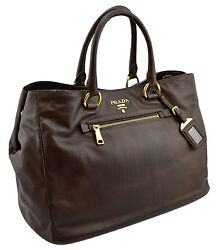 $1.995 PRADA Brown Leather SOFT CALF Women's Shopper Tote Bag NEW COLLECTION