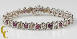 14k White Gold Diamond And Ruby S Link Bracelet Size 7.25 Gift For Her
