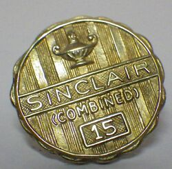 Vintage 14k Yellow Gold Sinclair Oil And Gas 15 Year Service Lapel Pin 2.29 Grams