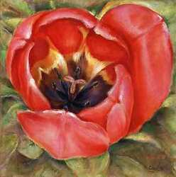 Contentment - Feng Shui Floral Tulip Original Art Painting For True Love 24x24