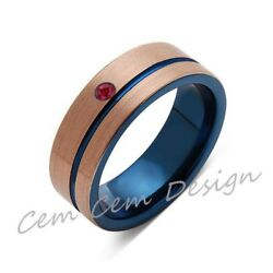 8mm,red Ruby,brushed Rose Gold And Blue,tungsten Ring,mens Wedding Band,blue Men
