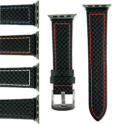 B And R Bands Carbon Fiber Style Apple Watch Band Strap 38mm 42mm Stainless Steel