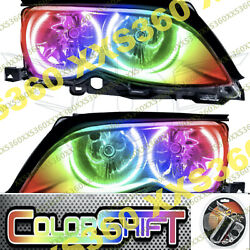 Oracle Halo Headlights Black For Bmw 3-series 02-05 Colorshift 1.0 Angel Eyes