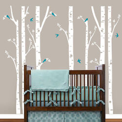 Birch Trees Wall Decals Tree Wall Sticker Removable White Birch Wall Stickers