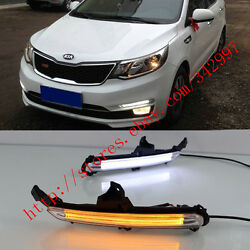 Exact Fit Switchback LED DRL Fog Lights w Turn Signals For Kia K2 Rio 2015-2017