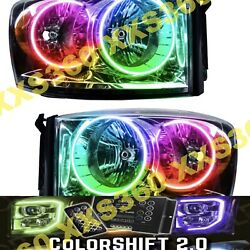 Oracle Halo 2x Chrome Headlights For Dodge Ram 07-08 Colorshift Led 2.0 W Remote