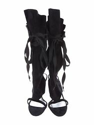 Spectacular New Sold Out 2,495 Dolce And Gabbana Black Lace Up Sandals