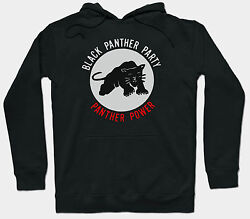 THE BLACK PANTHER PARTY HOODIE JUMPER HUEY P NEWTON 1960'S POLITICAL ACTIVIST