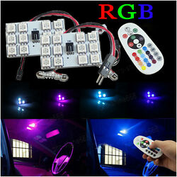 2pcs RGB Color W/ Control LED Panel 2825 T10 42MM BA9S Red Dome Map Door Lights