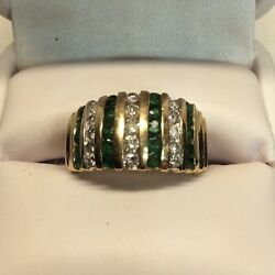 Ladies Wide Band With Rows Emeralds And Rows Diamonds Yellow Gold Ring J348