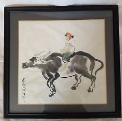 Chinese Art Water Buffalo And Woman Brush Scroll Hand Painting On Paper