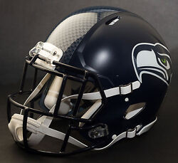 Seattle Seahawks Nfl Authentic Gameday Football Helmet W/s2eg-sw-sp Facemask