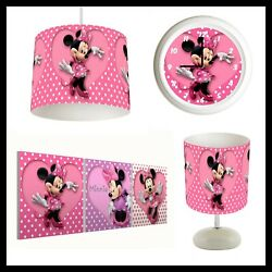 Minnie Mouse - Girls Bedroom In A Box - Lightshade Lamp Clock Canvas Prints