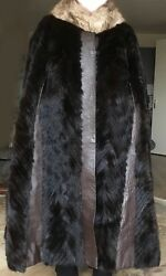 Luxurious Vintage MINK COAT (fur cape full length) with brown leather strips