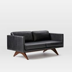 West Elm Brooklyn Leather Sofa In Licorice