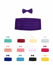 6 Pack Boy's Solid Poly Satin - Bow Tie and Cummerbund Sets (CBBT1301-6pk)