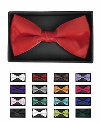 6 Pack Men's Solid Color Banded Bow Ties (BT1301BX-6pk)