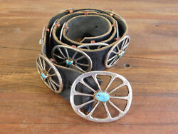 Vintage Southwest Sterling Silver And Turquoise Concho Belt