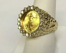 14k Gold Mens 22mm Coin Ring With A 22k 1/10 Oz American Eagle Coin With 5/8tcw