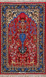 2and039 4 X 3and039 3 Esfahan Wool And Silk Authentic Hand Knotted Persian Rug