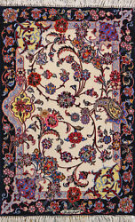 2and039 4 X 3and039 8 Esfahan Wool And Silk Authentic Hand Knotted Persian Rug