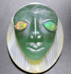156CTW AFTER SUMERIAN MASCARON TOURMALINE CAMEO -PENDANT-BROOCH-RING-INTAGLIO