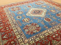 5and039.6 X 5and039.11 Light Blue Fine Geometric Oriental Rug Hand Knotted Office/study