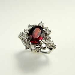 RRRR! HUGE Natural Unheated Unenhanced Ruby Diamond Engagement Wedding Ring 14K