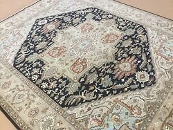 8and039.2 X 10and039.0 Navy Blue Beige Sarape Oriental Area Rug Hand Knotted